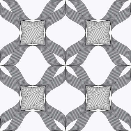 herringbone background: Seamless geometric background. Modern monochrome ribbon like ornament. Pattern with textured ribbons.Ribbons dark and light forming net with knots pattern.