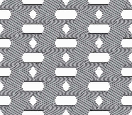 loops: Seamless geometric background. Modern monochrome ribbon like ornament. Pattern with textured ribbons.Ribbons forming horizontal overlapping loops pattern.
