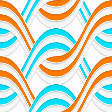 perforated: Seamless geometric background. Modern 3D texture. Pattern with realistic shadow and cut out of paper effect.White embossed interlocking waves with blue and orange.