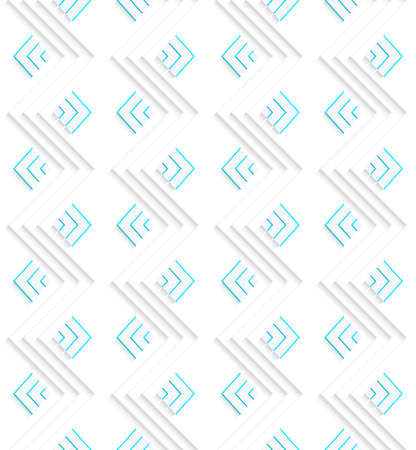Seamless geometric background. Modern 3D texture. Pattern with realistic shadow and cut out of paper effect.White embossed zigzags with green.