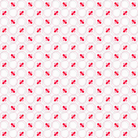 tillable: Seamless stylish geometric background. Modern abstract pattern. Flat textured design. Colored red and pink with hairy circles on white. Illustration
