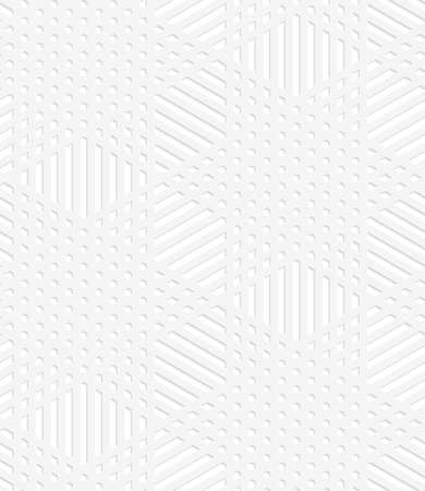 perforated: Seamless geometric background. Pattern with realistic shadow and cut out of paper effect.White 3d paper.3D white perforated striped stars.