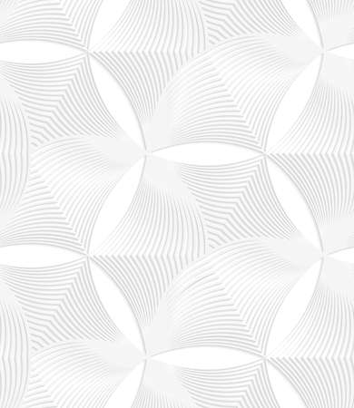 Seamless geometric background. Pattern with realistic shadow and cut out of paper effect.White 3d paper.3D white striped puckered hexagons.