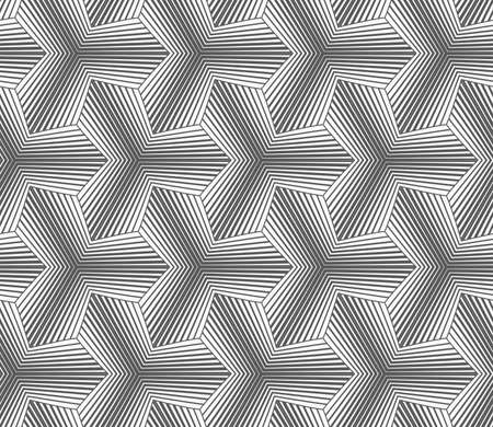pointy: Seamless geometric pattern. Gray abstract geometrical design. Flat monochrome design.Monochrome gradually striped pointy tetrapods.