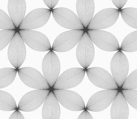 원활한 기하학적 인 패턴입니다. 회색 추상적 인 기하학적 디자인. 플랫 흑백 design.Monochrome 여섯 페달 꽃 줄무늬 회색.