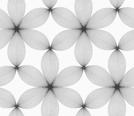 Seamless geometric pattern. Gray abstract geometrical design. Flat monochrome design.Monochrome gray striped six pedal flowers.