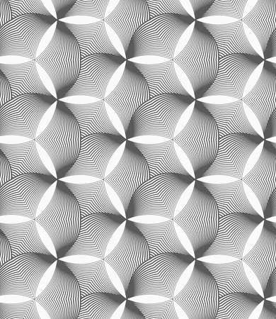 puckered: Seamless geometric pattern. Gray abstract geometrical design. Flat monochrome design.Monochrome striped puckered hexagons.