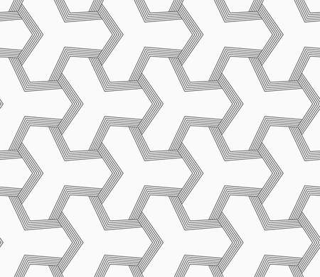 bevel: Abstract geometric background. Seamless flat monochrome pattern. Simple design.Slim gray tetrapods with striped bevel.