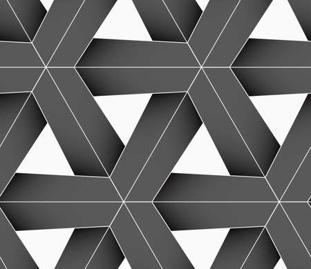 interlocked: Seamless geometric background. Pattern with realistic shadow and cut out of paper effect.Colored.3D colored gray triangular grid. Illustration