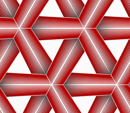 grid paper: Seamless geometric background. Pattern with realistic shadow and cut out of paper effect.Colored.3D colored red triangular striped grid. Illustration