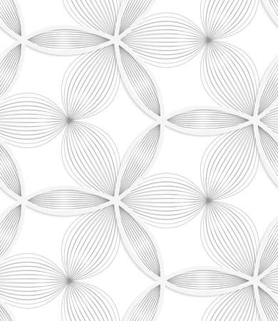 Seamless geometric background. Pattern with realistic shadow and cut out of paper effect.White 3d paper.3D white circle grid and striped flowers. Banco de Imagens - 38809558