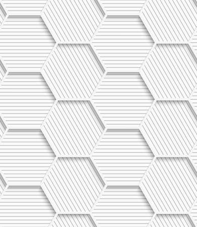 Seamless geometric background. Pattern with realistic shadow and cut out of paper effect.White 3d paper.3D white striped gray hexagonal net.