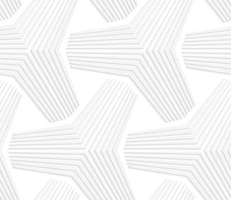 Seamless geometric background. Pattern with realistic shadow and cut out of paper effect.White 3d paper.3D white triangular stars. Ilustração