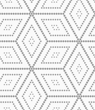 Seamless stylish dotted geometric background. Modern abstract pattern made with dotts. Flat monochrome design.Gray dotted cubes. Illustration