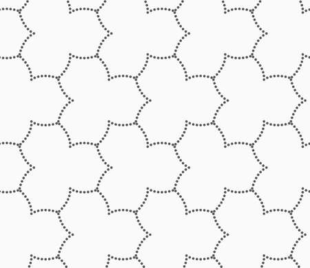 pointy: Seamless stylish dotted geometric background. Modern abstract pattern made with dotts. Flat monochrome design.Gray dotted three pedal pointy flower grid.