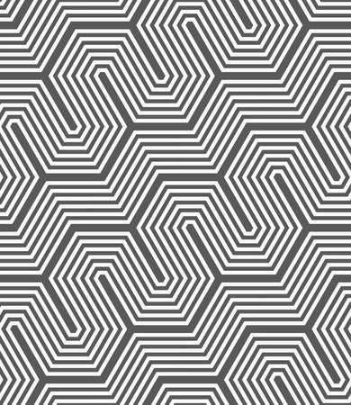 tile pattern: Seamless geometric pattern. Gray abstract geometrical design. Flat monochrome design.Monochrome diagonal hexagonal fence. Illustration