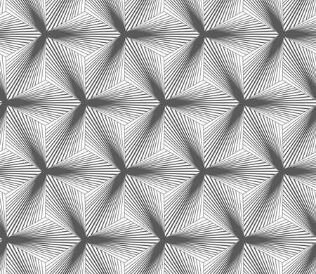 gradually: Seamless geometric pattern. Gray abstract geometrical design. Flat monochrome design.Monochrome gradually striped black three ray stars.
