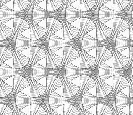 gradually: Seamless geometric pattern. Gray abstract geometrical design. Flat monochrome design.Monochrome gradually striped tetrapods and grid.
