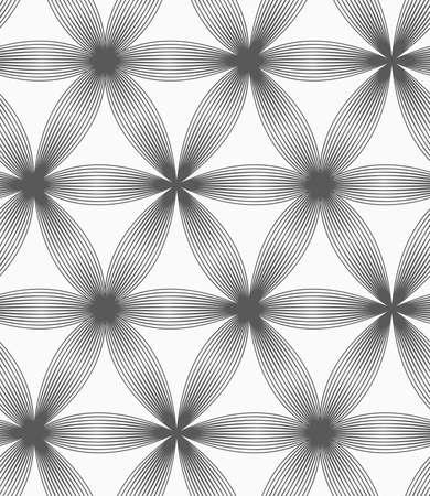 완벽 한 기하학적 인 패턴입니다. 회색 추상 기하학적 디자인입니다. 플랫 흑백 디자인입니다. 모노톤 선형 스트라이프 여섯 페달 꽃입니다. 일러스트