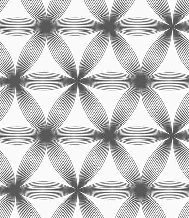 Seamless geometric pattern. Gray abstract geometrical design. Flat monochrome design.Monochrome linear striped six pedal flowers.