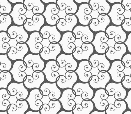 grid pattern: Seamless geometric pattern. Gray abstract geometrical design. Flat monochrome design.Monochrome spirals forming grid.