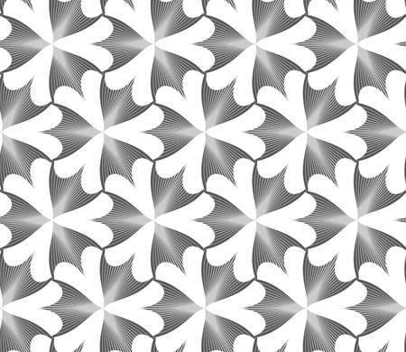 pointy: Seamless geometric pattern. Gray abstract geometrical design. Flat monochrome design.Monochrome striped pointy three pedal flowers.
