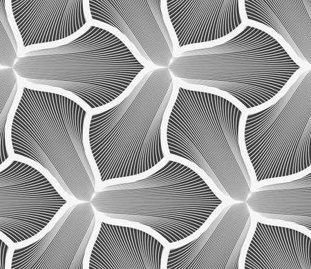 완벽 한 기하학적 인 패턴입니다. 회색 추상 기하학적 디자인입니다. 플랫 흑백 디자인입니다. 모노톤 두꺼운 획을 세 페달 꽃을 스트라이프합니다.