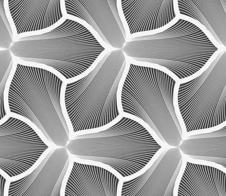 Seamless geometric pattern. Gray abstract geometrical design. Flat monochrome design.Monochrome striped three pedal flowers with thick stroke.