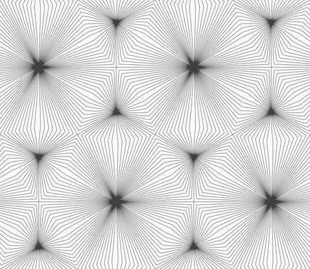 continuously: Abstract geometric background. Seamless flat monochrome pattern. Simple design.Slim gray continuously stripes hexagons. Illustration