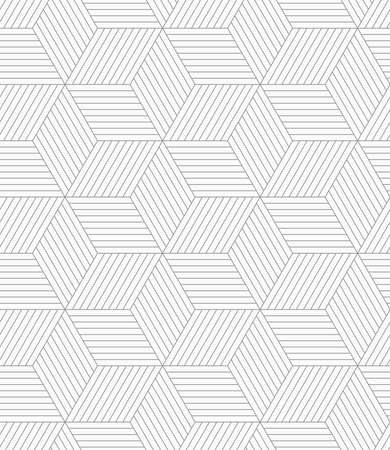 Abstract geometric background. Seamless flat monochrome pattern. Simple design.Slim gray hatched cubes.