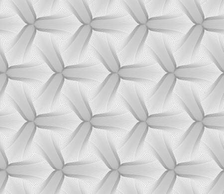 pointy: Abstract geometric background. Seamless flat monochrome pattern. Simple design.Slim gray hatched trefoil pointy flower. Illustration