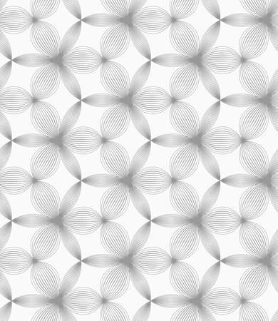 hatched: Abstract geometric background. Seamless flat monochrome pattern. Simple design.Slim gray small hatched thick and thin trefoils. Illustration