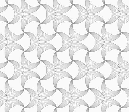 pointy: Abstract geometric background. Seamless flat monochrome pattern. Simple design.Slim gray striped double pointy trefoils.