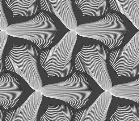 trefoil: Abstract geometric background. Seamless flat monochrome pattern. Simple design.Slim gray striped trefoil flower with black bevel.
