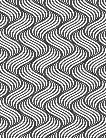 Abstract geometrisch patroon. Moderne zwart-wit achtergrond. Vlak grijs met gestreepte rimpelingen. Stock Illustratie