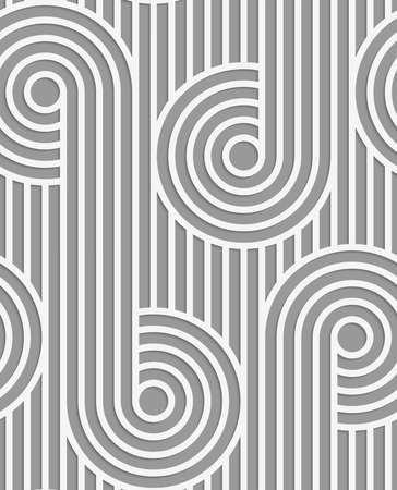 ritagliare: Sfondo bianco e grigio con taglio di effetto carta. Moderna 3D senza soluzione di continuit� pattern.Paper tagliato cerchi su continua strisce. Vettoriali