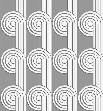 tillable: White and gray background with cut out of paper effect. Modern 3D seamless pattern.Paper cut out circles with continues stripes on gray.
