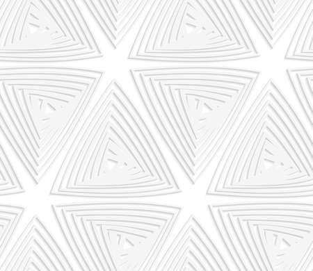 ritagliare: Sfondo bianco e grigio con taglio di effetto carta. 3D moderno senza soluzione di continuit� pattern.Paper tagliato triangoli offset. Vettoriali