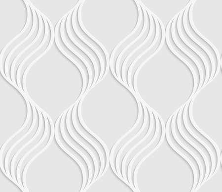 ritagliare: Sfondo bianco e grigio con taglio di effetto carta. Moderno 3D senza soluzione di continuit� pattern.Paper tagliato foglie ondulate che formano griglia.