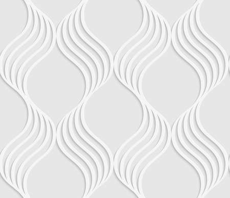 grid paper: White and gray background with cut out of paper effect. Modern 3D seamless pattern.Paper cut out wavy leaves forming grid.