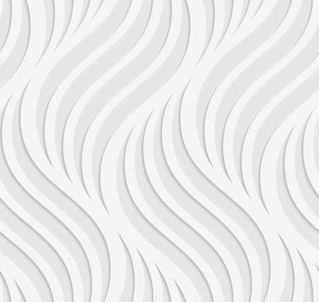 White and gray background with cut out of paper effect. Modern 3D seamless pattern.Paper cut out wavy leaves on gray.