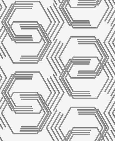 Stylish 3d pattern. Background with paper like perforated effect. Geometric design.Perforated paper with broken hexagons.