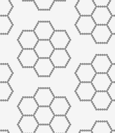 perforated: Stylish 3d pattern. Background with paper like perforated effect. Geometric design.Perforated paper with hexagons forming flowers.