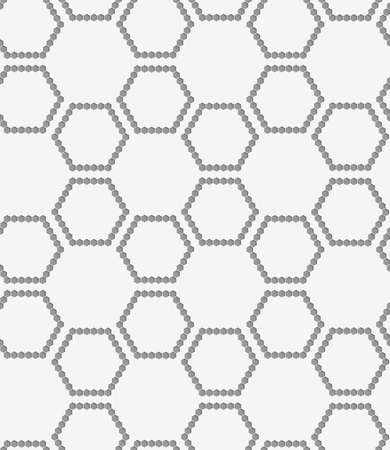 grid pattern: Stylish 3d pattern. Background with paper like perforated effect. Geometric design.Perforated paper with hexagons forming grid.