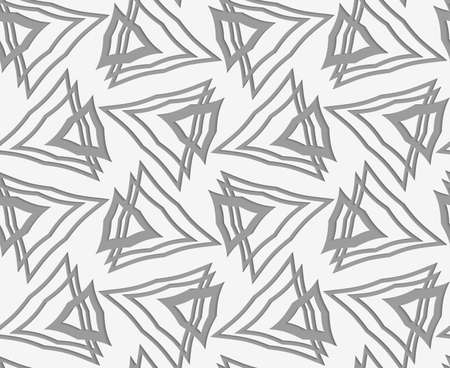 Stylish 3d pattern. Background with paper like perforated effect. Geometric design.Perforated paper with overlapping triangles.