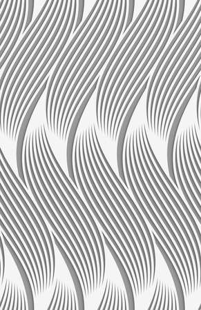 grey pattern: Stylish 3d pattern. Background with paper like perforated effect. Geometric design.Perforated paper with wavy striped shapes. Illustration