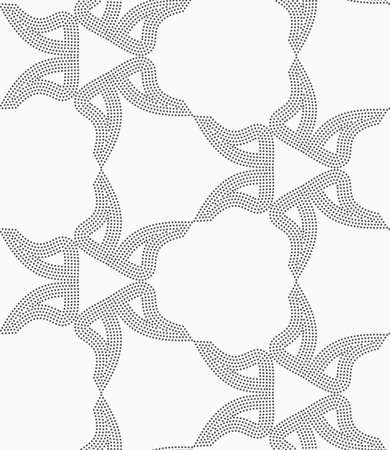 Monochrome dotted texture. Abstract seamless pattern. Ornament made of dots.Textured with dots shapes forming triangles..