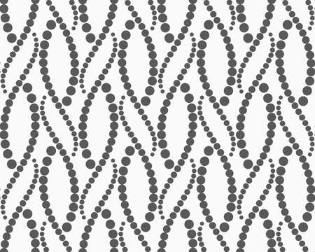 tillable: Monochrome dotted texture. Abstract seamless pattern. Ornament made of dots.Textured with dots wavy snakes.