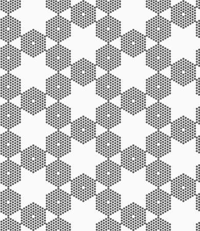tillable: Monochrome dotted texture. Abstract seamless pattern. Ornament made of dots.Textured with hexagons hexagonal grid.