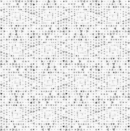 tillable: Monochrome dotted texture. Abstract seamless pattern. Ornament made of dots.Textured with randomly colored and rotated triangles squares.